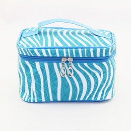 Wholesale zebra cosmetic - Wholesale- New Arrival Zebra-Stripe Lichee Pattern Cosmetic Bag Fashion Candy Color Trunk Toiletry Bag High Capacity Zipper Make up Bag