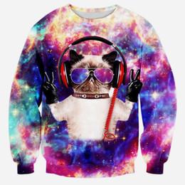 Wholesale Galaxy Cats Sweatshirts - Wholesale-Raisevern 2016 new galaxy space DJ cat print 3d sweatshirts amazing design casual hoodies unisex sweat shirts tops for men women
