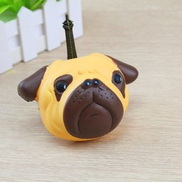 Wholesale Straps Dogs - 20pcs lot Kawaii Squishy Dog Face Bread Soft Slow Rising Phone Straps DIY Pendant Stretchy Squeeze Cream Scented Cake Kid Christmas gift