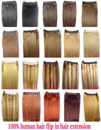 "Wholesale halo set - ZZHAIR 16""-32"" 100% Brazilian Remy Human hair Halo Hair Flips in on Human Hair Extension 1pcs set Non-Clips 80g-200g"