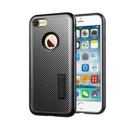 Wholesale iphone 5s stand case - 2016 PC + TPU Hard Rugged Armor Case For Apple iphone 6 6S 5 Se 5S 7 7Plus Carbon Fiber Pattern Support Stand Case Back Cover Black Red Gold