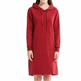 Wholesale Girl S Dress Hoodie - Women Elegant New Korean Style Solid Color Red Casual Dresses Hoodies Pullovers Sweatshirts Girls Formal Party Ladies Office Girls YYFS 5355