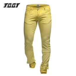 Wholesale Colored Man Jeans - Wholesale- TQQT low waist jeans casual pants stretch mateial slim jeans full length straight pants heavyweight colored jeans 5P0609