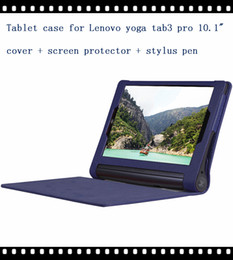 """Wholesale Table Case Inches - Wholesale- High quality pu leather case cover for Lenovo Yoga tablet 3 pro 10"""" table case for lenovo yoga3 pro 10 inch case +film +pen"""