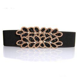 Wholesale Beaded Cluster - Wholesale- luxury cluster rhinestone beaded belts for women wide handmade stretchy cummerbund elegant black Waistband for dress bg-064