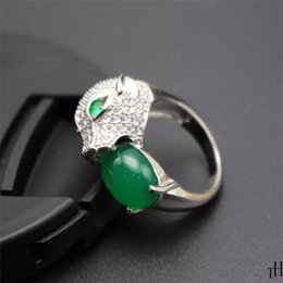 Wholesale Man Ring Jade Silver - Fashion MAN Ring With Gem Stone 925 solid silver ring for man natural green jade ring for man jewelry birthday gift