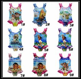 Wholesale Baby Girls One - 9 styles Moana Baby Girls One-Pieces Swimsuit children cartoon Swimwear Moana printing Bikini kids bathing suit DHL shipping