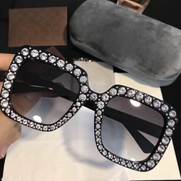 Wholesale Diamond Rectangle - G0148 Luxury Brand Sunglasses 0148 Large Frame Elegant Special Designer with Diamond Frame Built-In Circular Lens Top Quality Come With Case