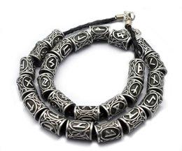 Cabelo antigo on-line-Viking Runes Beads for Beards ou Hair Jewelry Fazendo Antique Beads Metal Charms para Pulseiras para DIY Pendant Necklace D344S