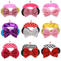 Wholesale Sequined Head Bands - 2017 Baby Girls stripe Dot headband kids Sequined bow rabbit ear Hair band Infant Round ears Elastic head rope Headbands