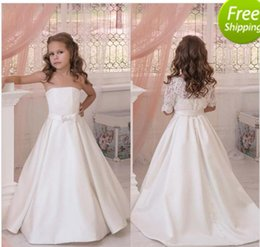 Wholesale Half Jackets Girls - Latest 2017 Ivory Strapless Flower Girls Dresses For Weddings With Detachable Lace Half Sleeve Jacket Bow Sash Custom Made