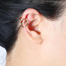 Wholesale Cuffed Earings Pierced - Punk Cartilage Earings Gold Silver Plated Geometric Ear Cuff Clip Earrings For Women No Pierced Earcuff Fashion Jewelry
