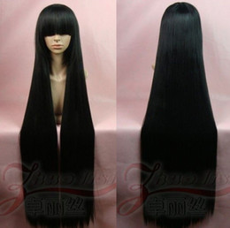 Wholesale Mio Cosplay - new Hell Girl Enma Ai K-ON! Mio 120CM Black Long Straight Cosplay Wig