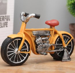 Wholesale Vintage Furnishings - Free shipping European style Vintage resin motorbike Model Room Table Decoration Home Furnishings artware crafts handiwork photography props