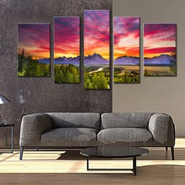 Wholesale Mountain Wall Painting - 5 Panels Sunset Mountain Painting Wall Art Grand Teton National Park Landscape Picture Print with Wooden Framed for Home Decor