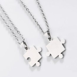 Wholesale Love Lovers Necklace - Free shipping New Fashion Men'S Women'S Couple Lovers Stainless Steel Love Jewelry Heart Puzzle Necklaces & Pendants