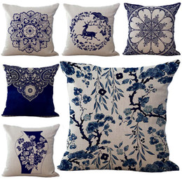 Wholesale Cover Pillows China - China Blue and White Porcelain Throw Pillow Cases Cushion Cover Pillowcase Home Sofa Square Pillow Case Pillowslip Textiles Gift 240428