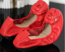 Wholesale Canvas Shoes Ballet Flats - 2017 New arrivals Top Quality Designer Luxury Famous Brand Soft Ladies Genuine Leather flats Women Flowers discount ballet casual shoes