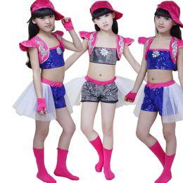 Wholesale girls dancewear sets - New Girls Sequined Modern Jazz Hip Hop Dancewear dress Kid's Party Dance Costumes Set Stage Wear Jazz Dancewear DS Dancing Costumes for Girl