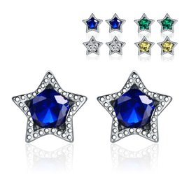 Wholesale Sterling Silver Korean Style Earrings - Korean Style 925 Sterling Silver Earrings YJY Fashion Five-pointed Star Women Ear Stud Diamond Eardrop Women's Jewelry Accessories Gift