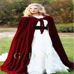 Wholesale Hooded Wedding Dresses - 2017 Winter Bridal Cape Christmas Cloaks Jackets Hooded For Winter Wedding Bridal Wraps For Wedding Dresses Sweep Train