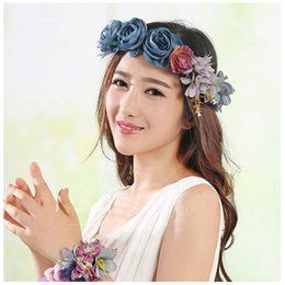 Wholesale Hair Head Wreath Flower Girl - Children's garlands long dress accessories Girls Head Wreaths studio photography Hair accessories Bridal Flower headdress C509