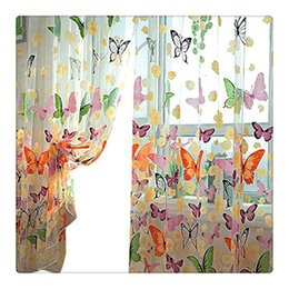 Wholesale Door Pockets - Hot selling!!200cm x 100 cm Butterfly Print Sheer Window Panel Curtains Tulle Panel Sheer Curtains Room Divider New for living room bedroom