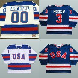 Wholesale Custom Stitched Jerseys - 1980 USA Custom Hockey Jerseys 3 Ken Morrow 16 Mark Pavelich 20 Bob Suter Men's 100% Stitched Team USA Throwback Hockey Jersey Blue White