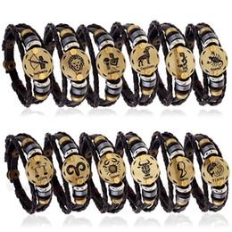 Wholesale Bronze Jewelry Toggles - Fashion Vingtage Bronze Alloy 12 Zodiac Signs Bracelet adjust size Leather Bracelet Wooden Bead Black stone For Men women Charm Jewelry