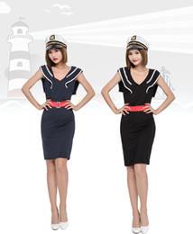 Wholesale Navy Dress Uniform - Sexy Navy Style Dress Attractive Girl Sailor Costume Halloween Cosplay Uniforms Women Role Play Party Dress