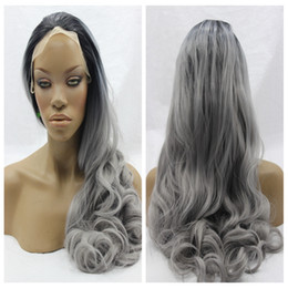 Wholesale wig silver grey short - in stock Fashion Ombre Grey Straight Synthetic Lace Front Wig Glueless 1B Silver Gray Heat Resistant Hair Women Wigs Short Black Root