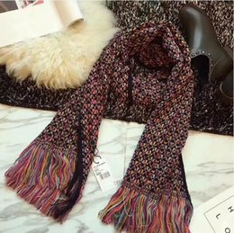 Wholesale Cotton Knit Scarves - 2018 Winter Warm Knit Scarf for Women Fashion Ring scarfs of Knit Scarves lady Warm Shawl Wrap Scarf 180*45CM + boxes