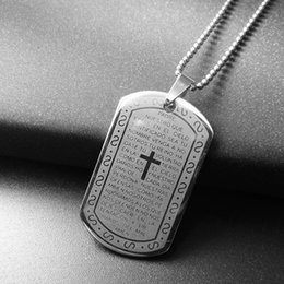 Wholesale Bible Dogs - Cross Pendants Necklaces Christian Bible Lords Prayer Dog Tags Silver Color Stainless Steel Christmas Jewelry Gift For Men