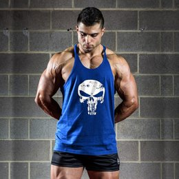 Wholesale Thin Modal Tops - Wholesale- New Punisher Skull Print Thin Straps Professional Fitness Man's Tank Top Fashion Bodybuilding Cotton Vest Men Undershirt Tops