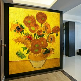 Wholesale Continental Painting - Photo Wallpaper Entrance Hallway Wall Painting Backdrop Continental Golden Sunflower oil Large Mural Wallpaper