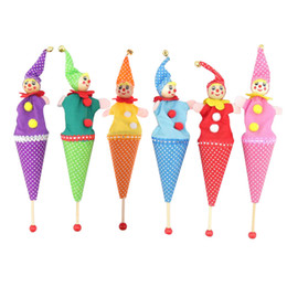 Wholesale Toy Cartoon Clowns - Wholesale- Baby Toys Wood and Cloth Retractable Clown Smiling Face Hide & Seek Play Jingle Bell Toy Kids Funny Toy