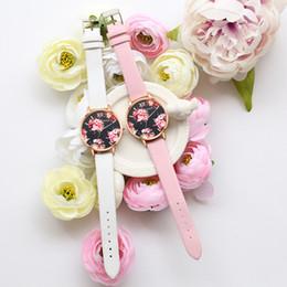 Wholesale Flower Clocks - Fashion Casual Watches Women Flower Leather Sport Quartz Wrist Watches Luxury Brand Hour Clock Relojes relogio feminino