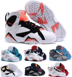Wholesale Toddler Girls Shoes China - New Kids Retro 7 Shoes Children Boys Girls Baby Toddler Air Retro 7s Basketball Shoes China Brands Grey Authentic Sneakers Size 28-35