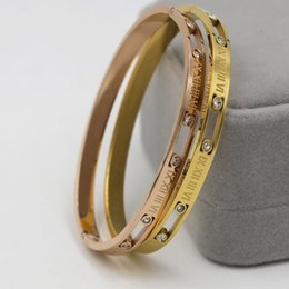 Wholesale Womens Stainless Steel Bangle - High Quality bangles For women Zirconia Roman Numeral bangle womens Wedding Noble elegant style Bride jewelry