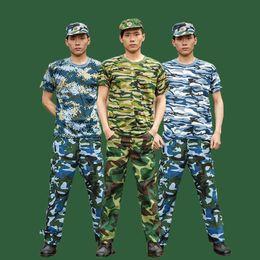 Wholesale Military Art Prints - Summer Camo Polyester fiber Tide fashion Tracksuit T-Shirt Pants Sport sets Military Shirt green blue Camo print Short-sleeve long pants
