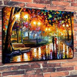 Emolduradas As árvores amantes da lâmpada de rua chuva Bela pintados à mão Arte abstrata pintura a óleo decoração da parede multi tamanhos frete grátis 016 de
