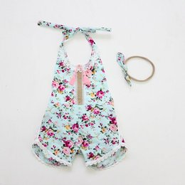 Wholesale Overalls Girls Kids - Retail 2017 Summer Toddler Girls Romper Floral Print Baby Girl Ruffle Jumpsuits With Headband Princess Infant Kids Overalls 7119
