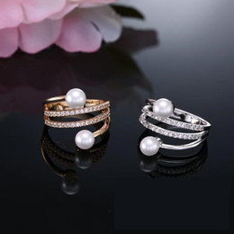 Wholesale New Fashion Half Ring - Europe and the United States fashion high-grade double pearl elegant jewelry zircon half-opening micro-inlay ring new hot bridal ring gift w