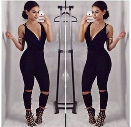 Wholesale Sexy Ladies Stripping - Wholesale- Sexy Women Ladies Summer Clubwear Playsuit Party Jumpsuit Romper Hole Long Trousers Strip V-neck Back Bandage Jumpsuit