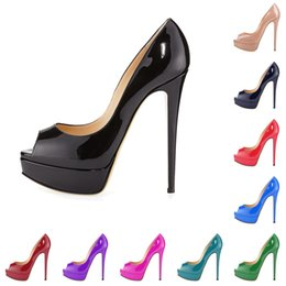 Wholesale Burgundy Prom Shoes - P14 Patent Leather New Fashion Women's Peep Toe High Heel Shoes Platform Sandals Large Size Dress Shoes Stiletto Heel Work Party Prom Pumps