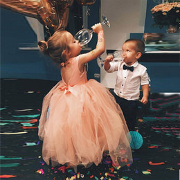 Wholesale Pink Green Flower Ring - Ring Bearer Wear Boy's Formal Suit(Tie+shirt+pants) Tulle Flower Girl's Dresses Bow Sash Hollow Back Kids Formal Wear