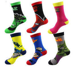 Wholesale Mens Funny Socks - European Mens Cartoon Anime Cotton Jacquard Socks Crazy 3D Men Wedding Dress Socks Novelty Funny Socks Superman Batman Spider-Man The Hulk