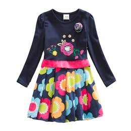 Wholesale Embroidered Baby Clothes - NEAT Brand 4-8Y 2017 Dress Flower Baby Girl Print Party Princess Dresses Child Clothes Kids Wear Long Sleeve Dress LH5868 H5868