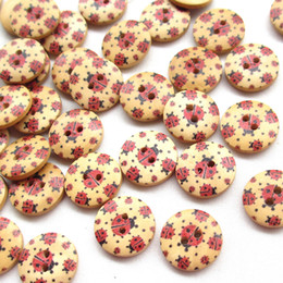 Wholesale Wholesale Ladybug Sewing Button - New 100pcs Ladybug Ladybird Wood BUTTON Sewing Buttons Bead 18mm Craft