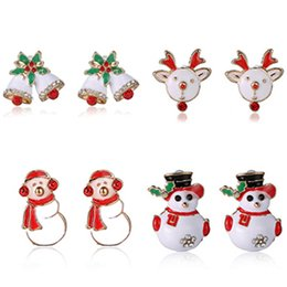 Wholesale Cutest Christmas Tree - Women Christmas Fashion Joker Snowman Gifts Animal Stud Earrings Cute Green Christmas Tree Studs Earrings Girl's Children Kids Stering